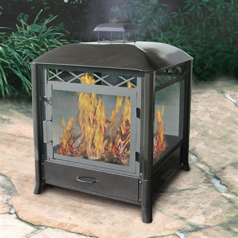 shop landmann usa black steel outdoor wood burning