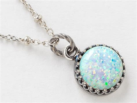 white opal necklace silver opal necklace white opal pendant australian opal