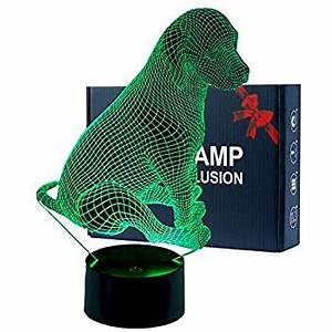Monster Color Changing Usb Led Light Optical Illusion Lamp Dog 3d Night Light 7 Color Touch