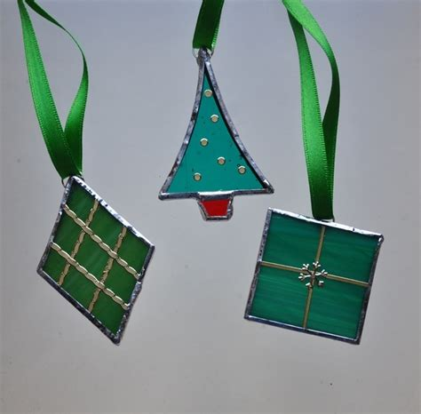 stained glass boxed green christmas decorations folksy