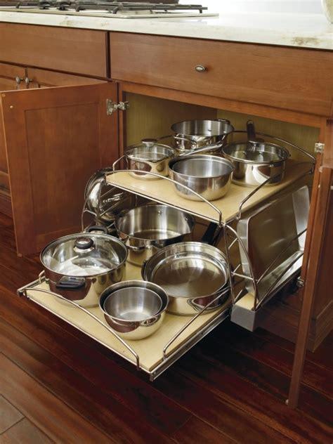 storage cabinet kitchen thomasville sliding bottom lid shelf pots pans pan organizer base cabinets cabinetry organization cupboards center visit designs