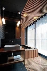 salle de bain noir et bois en 20 idees d39amenagement trendy With salle de bain couleur bois