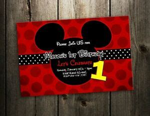 mickey mouse invitation birthday party card photo red
