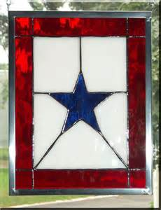 Stained Glass Blue Star Flags