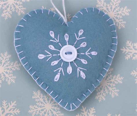 felt christmas ornament handmade scandinavian heart ornament