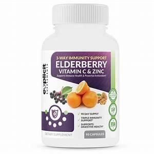 All Natural Elderberry  Vitamin C  U0026 Zinc Supplement - Triple Immunity Booster