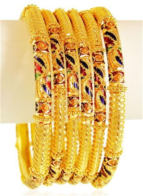 22k meena bangle set 4 pc asba61647 us 2 622 22k gold bangles 4 pcs are designed with