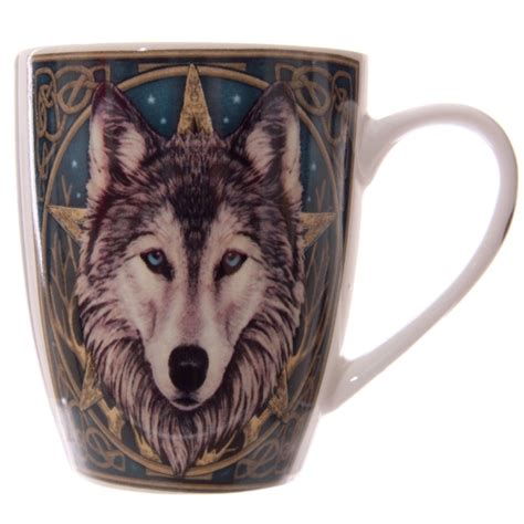 The wolf is associated with courage, strength, loyalty, and success at hunting in our culture. Wolf Pentacle Coffee Mug