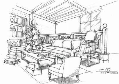 Living Interior Sketch Outline Drawing Coloring Paper
