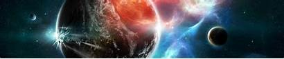Dual Screen Space Planets Monitor Sfondi Wallpapers
