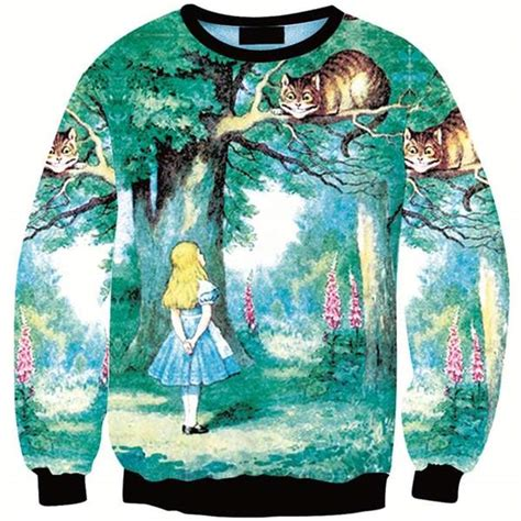 Girl Cheshire Cat On The Tree Alice 3d Sweater Just Cool