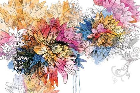 decoration cuisine moderne tableau déco fleur aquarelle izoa