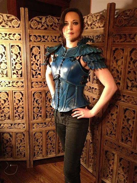 womens leather armor  action blue jay