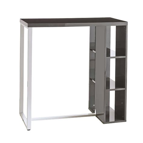 table bar cuisine avec rangement bar table in grey high gloss with white metal legs