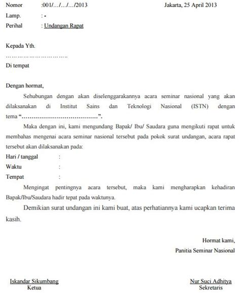 21 contoh surat undangan resmi tidak resmi rapat