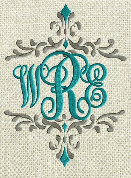 scripty monogram font embroidery file  letters  sizes   stitchelf