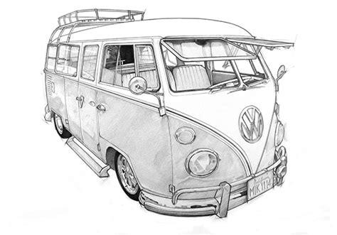 volkswagen bus drawing vw cer van sketch inspiration pinterest vw cer