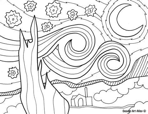 vincent van gogh starry night coloring sheet coloring page