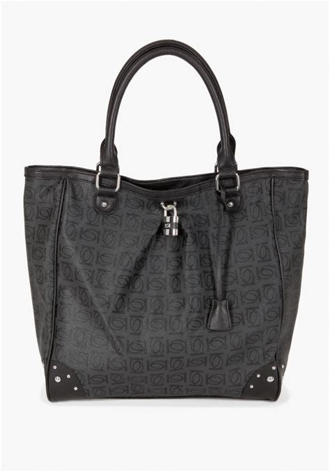 bebe logo monogram tote bag  black lyst