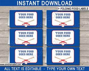 Baseball party food labels place cards for Food label template for party