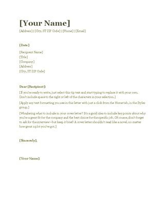 Cover Letter Templates For Resume by Resume Cover Letter Green
