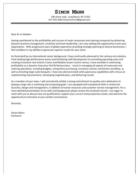 catering cover letter exles for excel pdf and word
