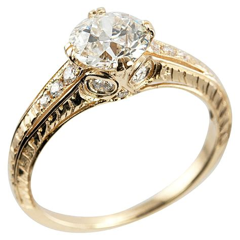 vintage yellow gold engagement rings wedding promise