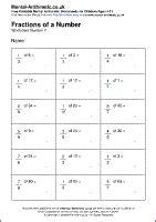 fraction of a number worksheet fraction of amount worksheet scalien