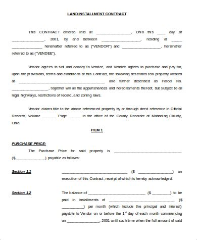 installment land contract form 9 sle land contract forms sle templates