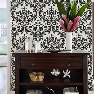 Damask stencil uk classical damask wallpaper stencil for Kitchen cabinets lowes with damask decals wall art
