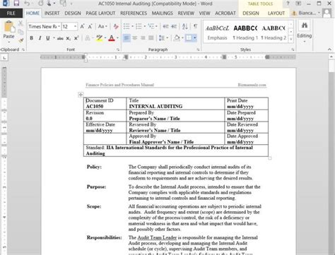 sample policies  procedures template  word