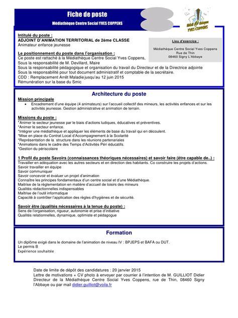 cadre d une fiche de poste type par rectorat profil de poste animateur enfance jeunesse 2015