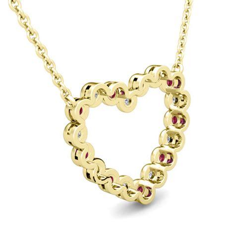 bezel diamond  ruby heart necklace   gold pendant