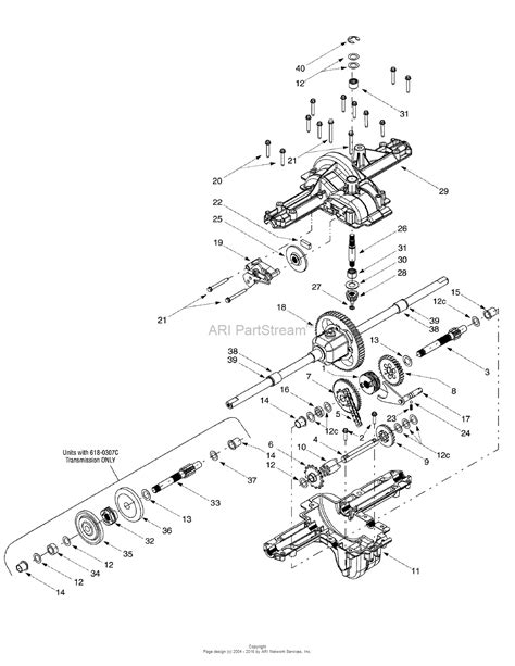 mtd 13an607h352 2000 parts diagram for single speed transmission assy