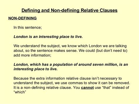 defining   defining relative clauses