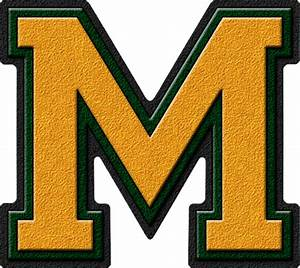 presentation alphabets gold forest green varsity letter m With varsity letter m