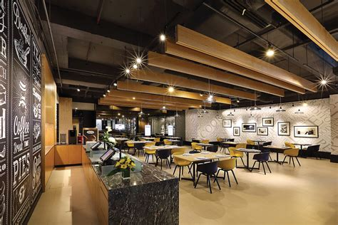 trendy theme  cafe featuring open spaces