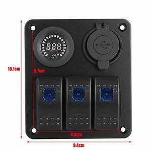 New 12v 3 Gang Blue Toggle Rocker Switch Panel Voltmeter