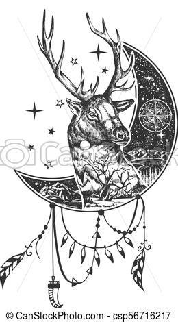 Vector Boho Deer Tattoo Shirt Print Design Head