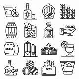 Whisky Icon Vector Outline Premium Whiskey Icone Profilo Icons Icona Insieme Dell Cocktail Iconos Conjunto Symbol Reeks Overzichtsstijl Het Isolated sketch template