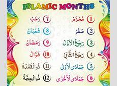 Islamic Months Names List, Muslim Calendar Hijri calendar