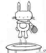 Trampoline Coloring Pages Hipster Bunny Printable Play Adults sketch template