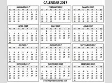 2017 Calendar printable 12 months calendar on one page