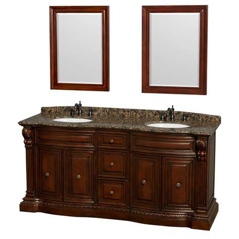 double sink granite countertop 72 in double bathroom vanity in cherry baltic brown