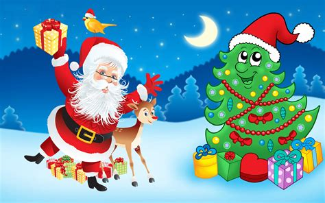 santa claus christmas tree decorations gifts cartoon