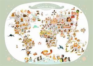 Affiche Carte Du Monde : affiche carte du monde illustr e pour enfants de julie mercier ~ Dailycaller-alerts.com Idées de Décoration