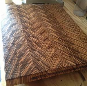 Zebra end grain cutting board - by Doublewide