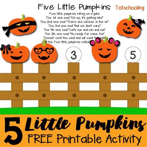 five pumpkins printable activity totschooling 951 | Five Little Pumpkins Printable Activity square