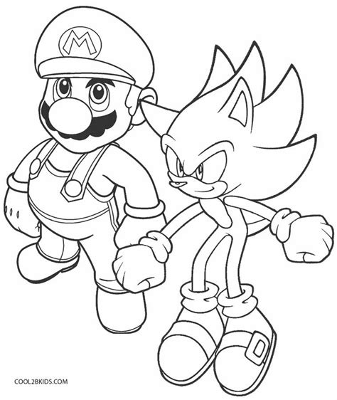 mario  sonic coloring games coloring pages
