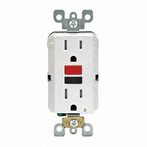 Decora 15 Amp Tamper Outlet With Black  U0026 Red Buttons